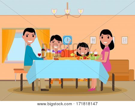 Vector illustration cartoon happy family at festive dinner table. Parents and kids are sitting at a table with a nice meal. Family in living room. Flat style. Holiday family table.