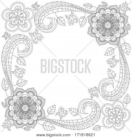 Floral hand drawn vertical frame in zentangle inspired style isolated on white background. Doodle flowers decorative border. Coloring book for adult and children. Editable vector illustration.