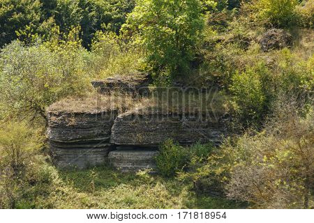 Rock of limestone in the forest in Moldova