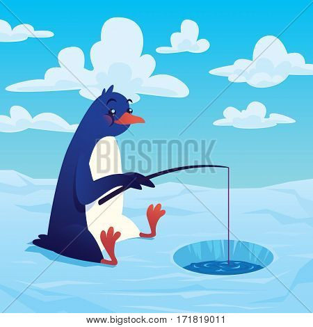 Cute cartoon penguin fishing with a fishing rod and sitting on an ice floe. Vector illustration of cute penguin fisher with his fishing rod in flat cartoon style on background of polar landscape.
