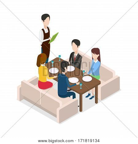 In Restaurant waiter with notebook taking order. Table for four people. Two male and two female customers are sitting at brown table. Two light sofas. Four plates and glasses are on table. Vector