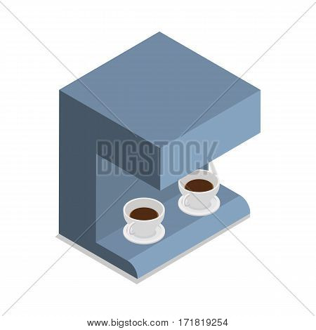 Automatic coffee machine with two cups of coffee isolated on white. Device for preparing hot drinks. Business office interior design. Restaurant equipment. Auto beverage maker. Vector illustration