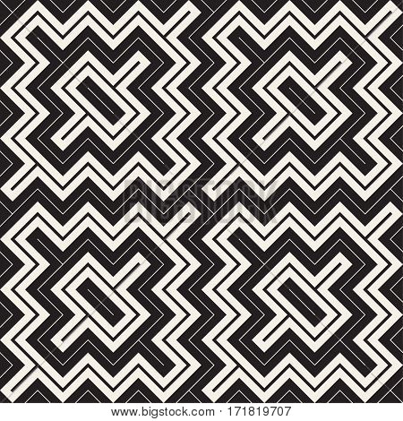 Ethnic Ornament Native Lines Stylish Print. Abstract Geometric Background Design. Vector Seamless Black and White Pattern.