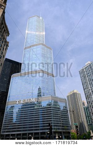 CHICAGO, IL - MAY 25: The Trump International Hotel and Tower, in Chicago, Illinois, USA