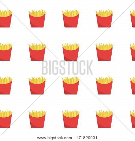 French fries seamless pattern. There is red boxes of fried potatos on a white background in the picture. Raster copy.