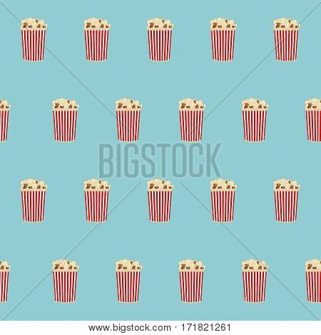 Popcorn seamless pattern. There is red and white boxes of popcorn on a blue background in the picture. Raster copy.