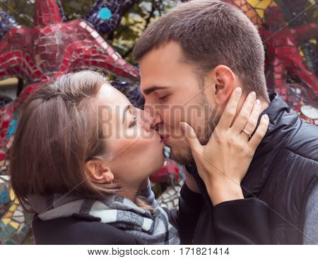 fashion of nice pretty young hipster woman with a handsome man kiss.