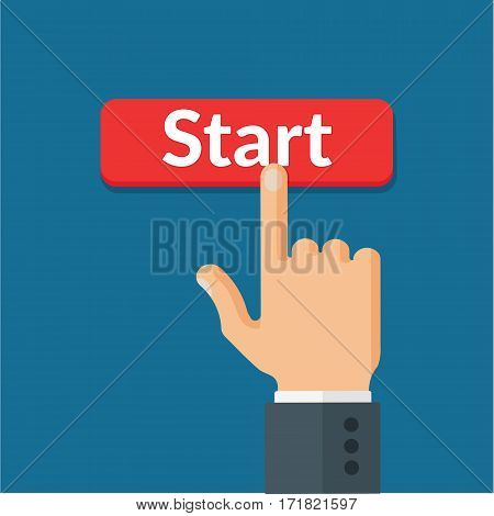 Human hand pushes the red start button. Business, beginning, technology and starting concept. Top view flat style vector illustration.