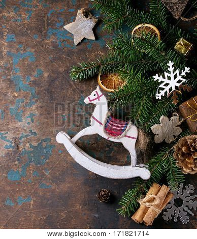 Christmas Decoration Card With Toys And Tree
