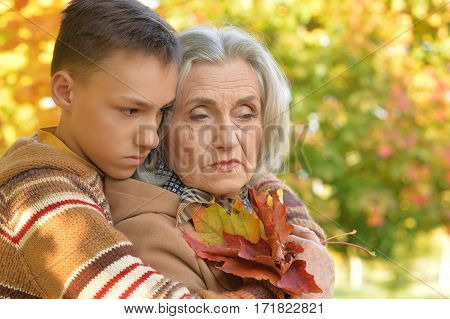 Portrait of a grandmother with grandson close up
