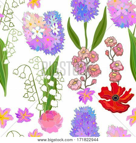 Seamless vector pattern with hyacinths. Retro textile design collection.