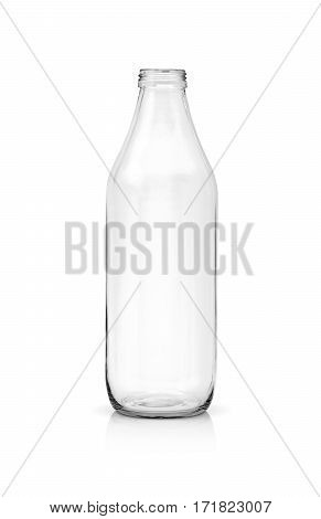 blank packaging transparent glass bottle for beverage product isolated on white background with clipping path