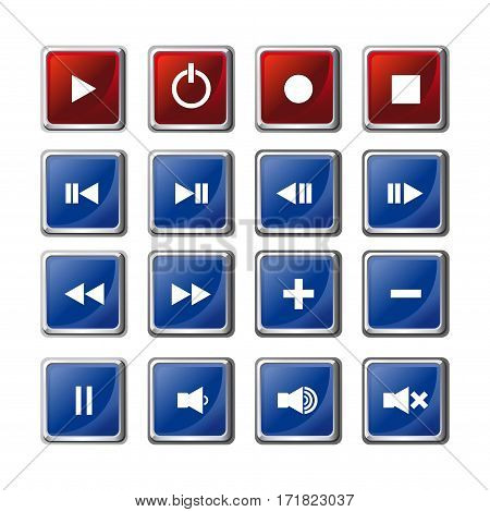 Media player buttons set. Player navigation buttons set. Media symbols icons isolated on white background. Video interface icon on white background. Vector illustration