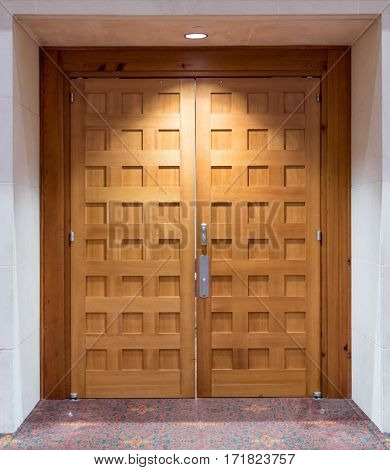 Light Brown Wooden Double Doors in a conference center