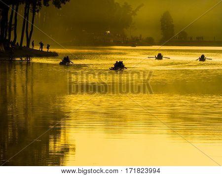 Bamboo jungle raft from outdoor natural park in Pang ung Thailand