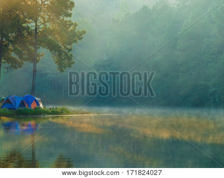 Camping tent from outdoor natural park in Pang ung Thailand