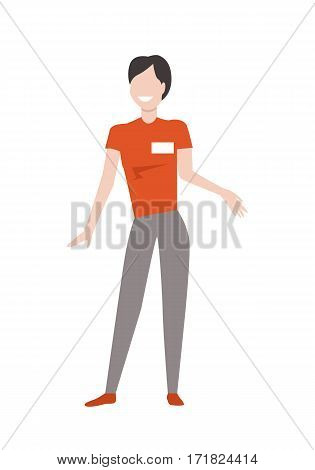 Shop assistant or seller character vector template. Flat design. Smiling woman with badge on uniform standing on white background. Grocery shop, electronics store, supermarket, mall personnel.