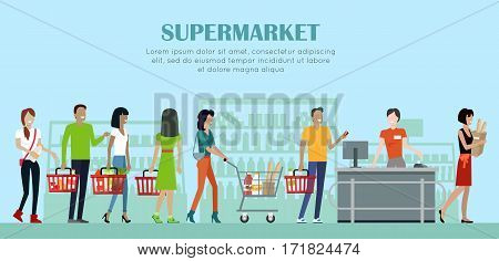 Supermarket concept vector banner. Flat style. Shopping in grocery store. Smiling cashier woman serves buyers on counter desk equipment in mall. Picture for retail companies ad, web page design.