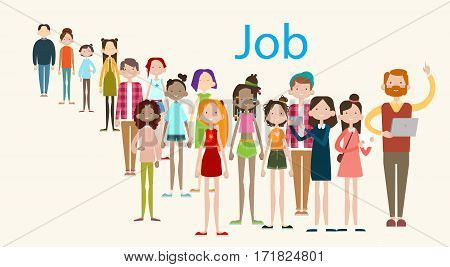 Group Casual People Crowd Ethnic Mix Race Businesspeople Search Job Umployment Flat Vector illustration