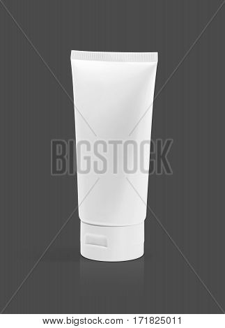 blank packaging cosmetic plastic tube isolated on gray background with clipping path