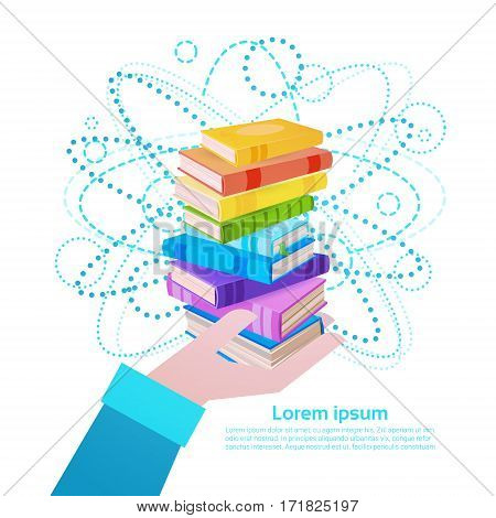 Hand Hold Books Stack School Education Concept Flat Vector Illustration