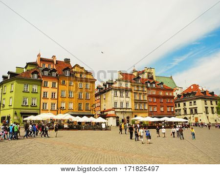Warsaw Poland - May 5 2015: Castle Square the historic old town of Warsaw.