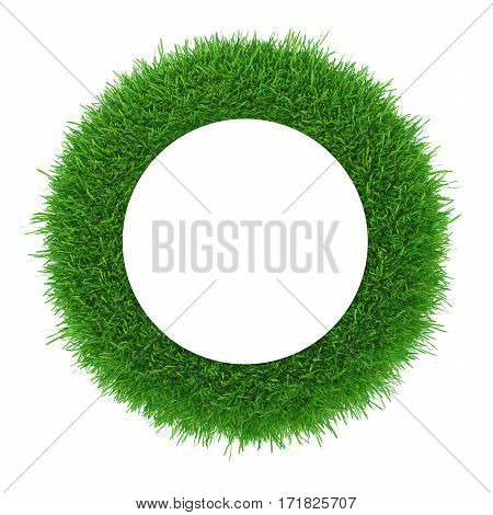 Green grass frame circle border isolated on white background. 3d rendering
