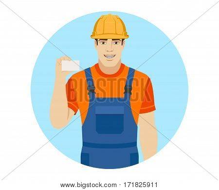 Builder shows the business card. Portrait of builder in a flat style. Vector illustration.