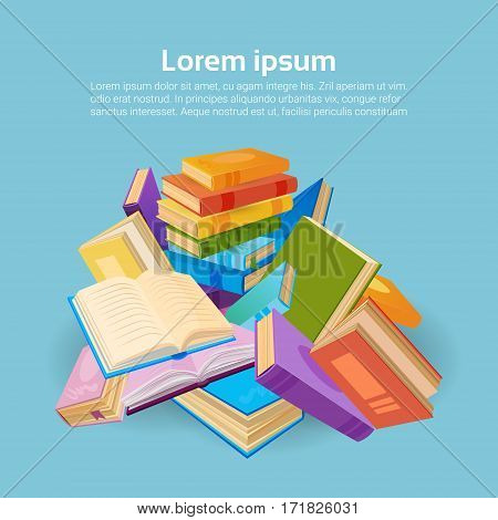 Books Stack School Education Concept Flat Vector Illustration