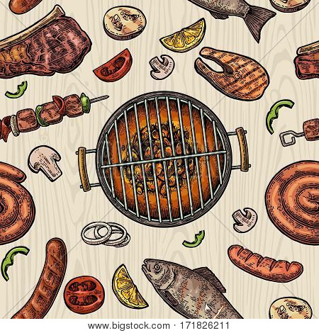 Seamless pattern barbecue grill. Top view with charcoal mushroom tomato pepper sausage lemon kebab fish and beef steak. Vintage color vector engraving illustration. Isolated on wood background