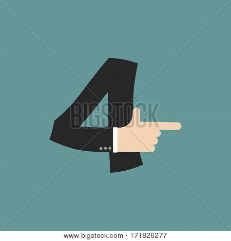 Number 4 Letter Businessman Hand Font. It Shows Finger Print. Arm Symbol Four Alphabet. Sign Of Abc