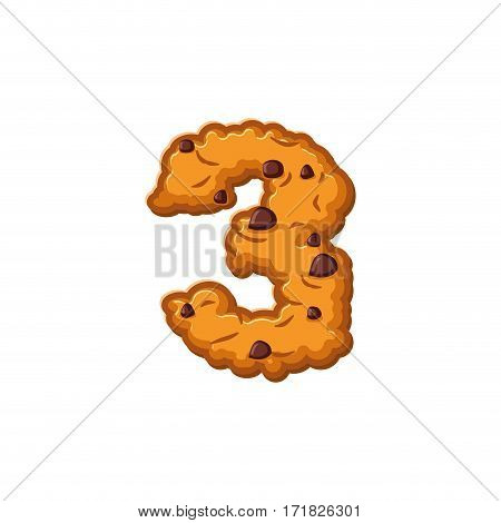 Number 3 Cookies Font. Oatmeal Biscuit Alphabet Symbol Three. Food Sign Abc