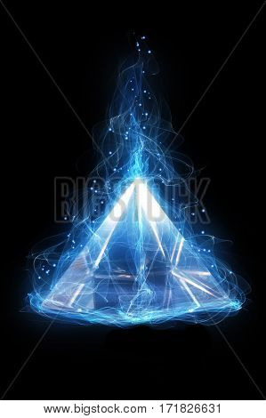 blue magic glass pyramid on black background