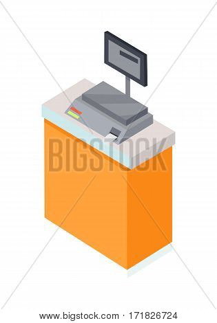 Electronic market scale. Scale icon in flat. Weighing scales devices to measure weight or calculate mass. Food scale icon. Supermarket equipment. Isolated object on white. Vector illustration.