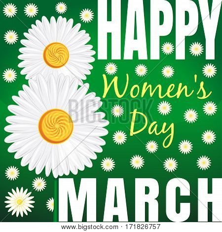 Camomile field. Pattern. Vector floral background with daisies and a congratulation from 8 th March. Happy Women's Day