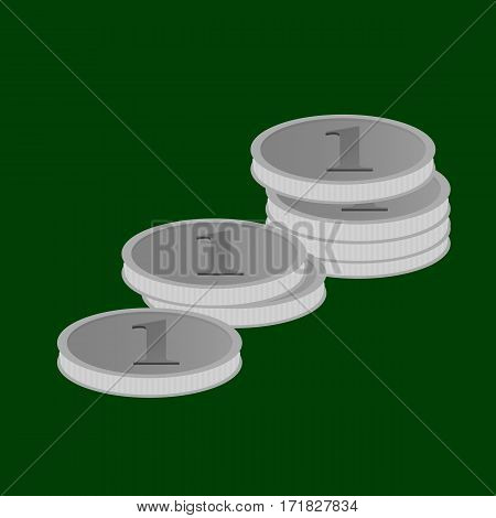 Vector illustration of stacks of silver coins in value of one lying on the green baize.
