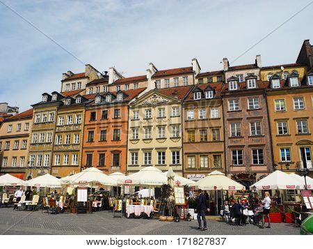 Warsaw Poland - May 5 2015: Market Square the historic old town of Warsaw.