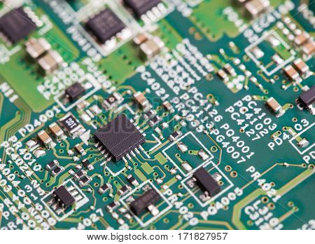 Close up of electronic components on the motherboard microprocessor chip