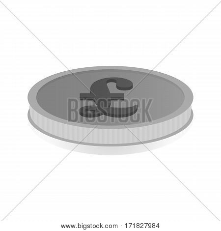 Vector illustration of a silver coin with the symbol of the pound the lira.