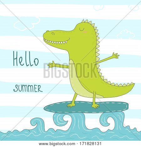 cute surf crocodile afloat. vector illustration. vector print in cartoon style.