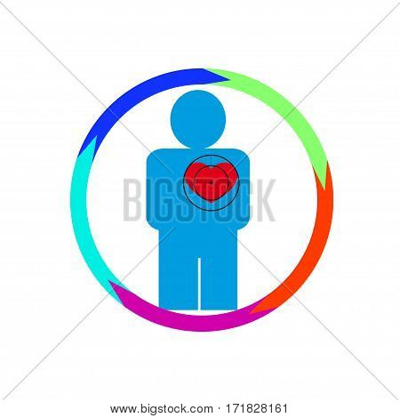 Vector illustration. The emblem logo. The human heart at risk. Healthy lifestyle. human kontur.Five sections around. Different colors.