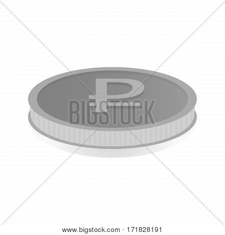 Vector illustration of a silver coin with the symbol of the ruble.