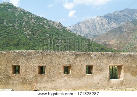 Wall of the citadel at Corte on Corsica island France