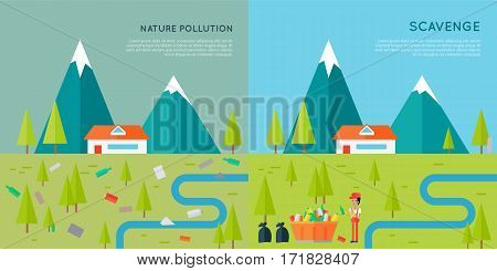 Nature pollution and scavenge concept vector. Flat style design. Two illustrations of same mountain landscape with house, trees, river first contaminated human waste and then cleaned by man.