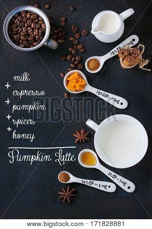 Ingredients For Making Pumpkin Latte