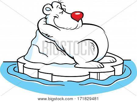 Cartoon illustration of a polar bear laying on an iceberg.