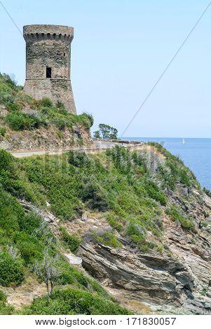 The coast of Bonifacio with his citadel on Corsica island France