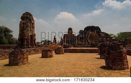 View to Wat Mahathat temple ruin Ayutthaya Thailand