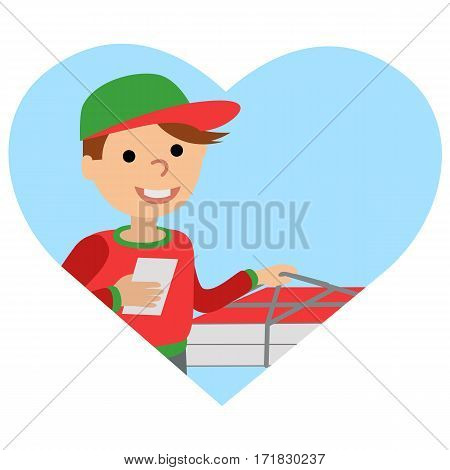 Pizza delivery man in uniform standing with box in his hands. Icone in heart on white background.
