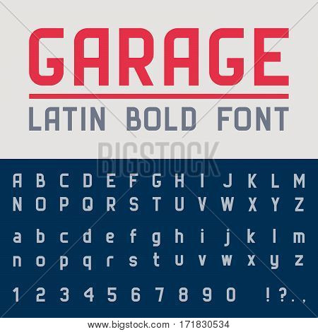 Garage bold font. Vector alphabet with latin letters and numbers.
